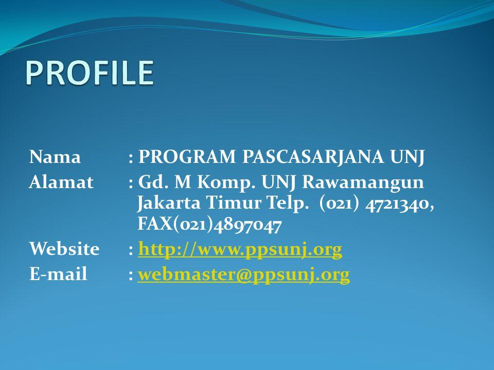 Nama: PROGRAM PASCASARJANA UNJ Alamat: Gd. M Komp. UNJ Rawamangun Jakarta Timur Telp. (021) 4721340, FAX(021)4897047 Website: http://www.ppsunj.org E-