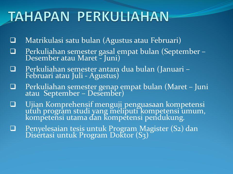  Matrikulasi satu bulan (Agustus atau Februari)  Perkuliahan semester gasal empat bulan (September – Desember atau Maret - Juni)  Perkuliahan semes