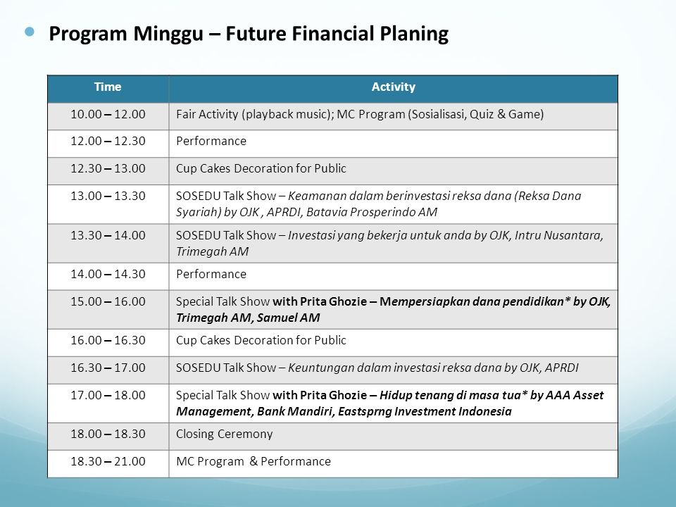 Program Minggu – Future Financial Planing TimeActivity 10.00 – 12.00 Fair Activity (playback music); MC Program (Sosialisasi, Quiz & Game) 12.00 – 12.