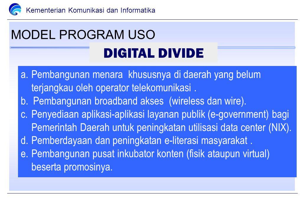 Kementerian Komunikasi dan Informatika MODEL PROGRAM USO a.Pembangunan menara khususnya di daerah yang belum terjangkau oleh operator telekomunikasi.