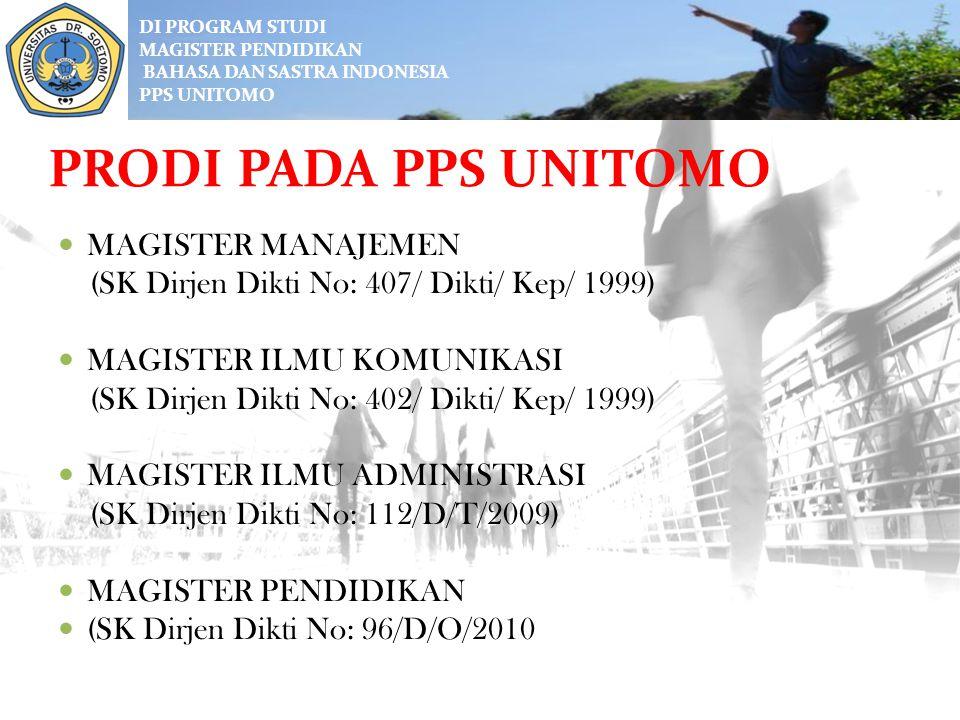 DI PROGRAM STUDI MAGISTER PENDIDIKAN BAHASA DAN SASTRA INDONESIA PPs UNITOMO