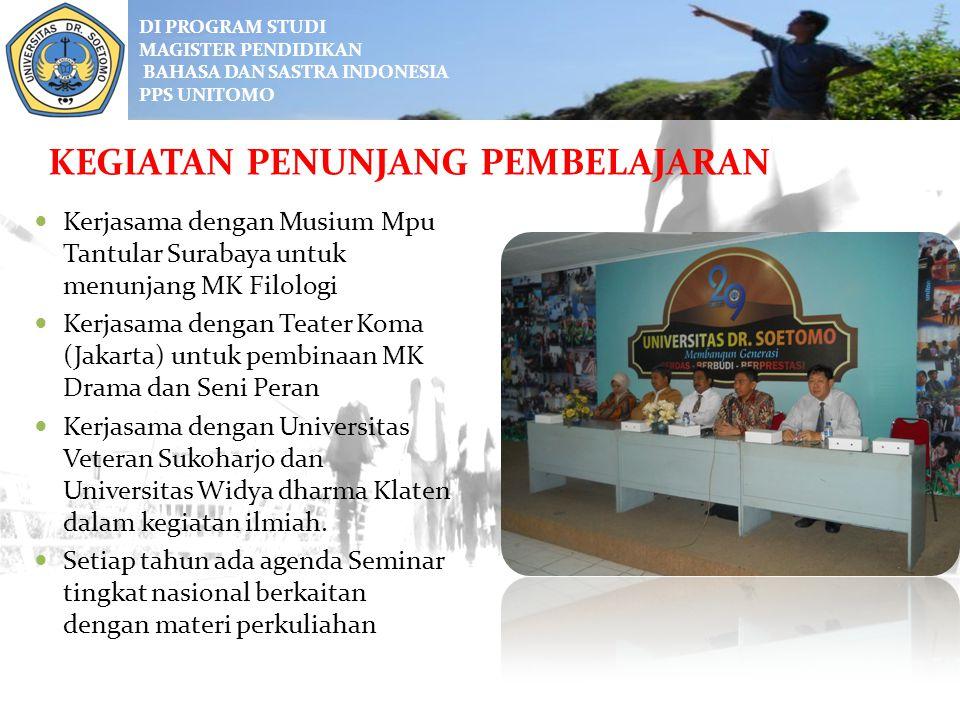DI PROGRAM STUDI MAGISTER PENDIDIKAN BAHASA DAN SASTRA INDONESIA PPS UNITOMO Perkuliahan diselenggarakan secara intensif selama 16-18 bulan (3 semeste