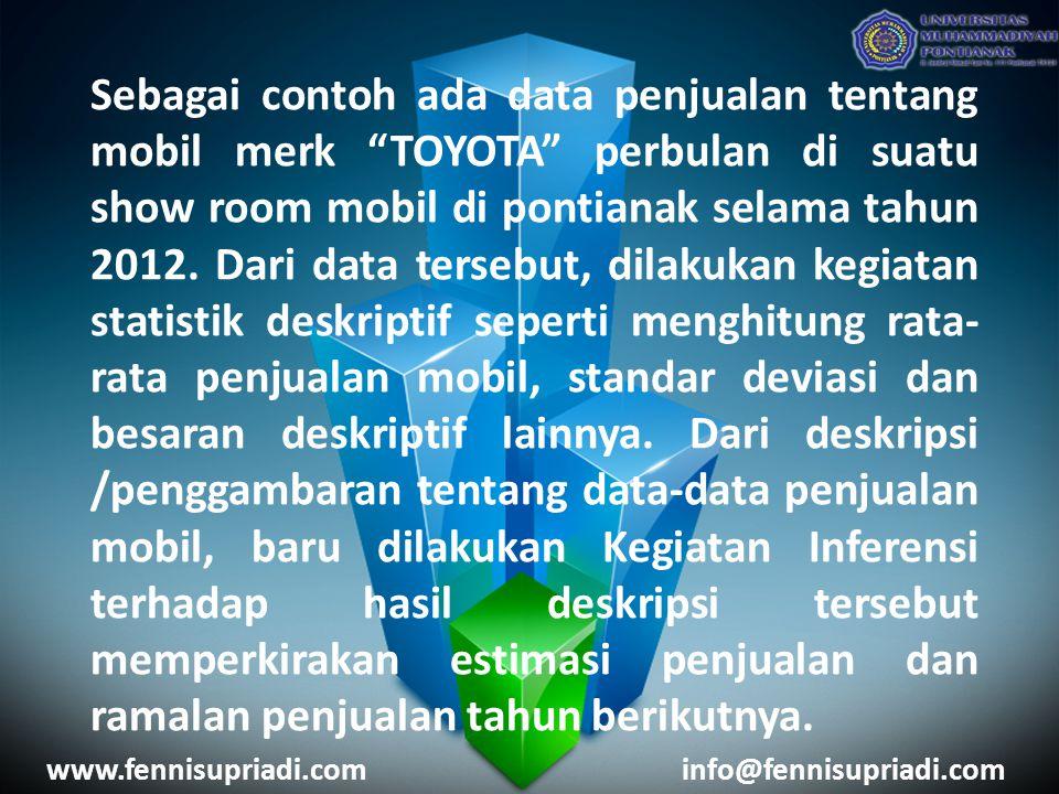 """Sebagai contoh ada data penjualan tentang mobil merk """"TOYOTA"""" perbulan di suatu show room mobil di pontianak selama tahun 2012. Dari data tersebut, di"""
