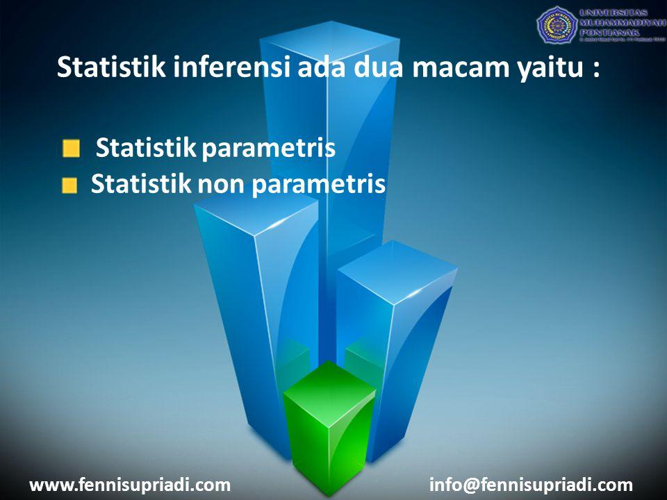 Statistik inferensi ada dua macam yaitu : Statistik parametris Statistik non parametris www.fennisupriadi.cominfo@fennisupriadi.com