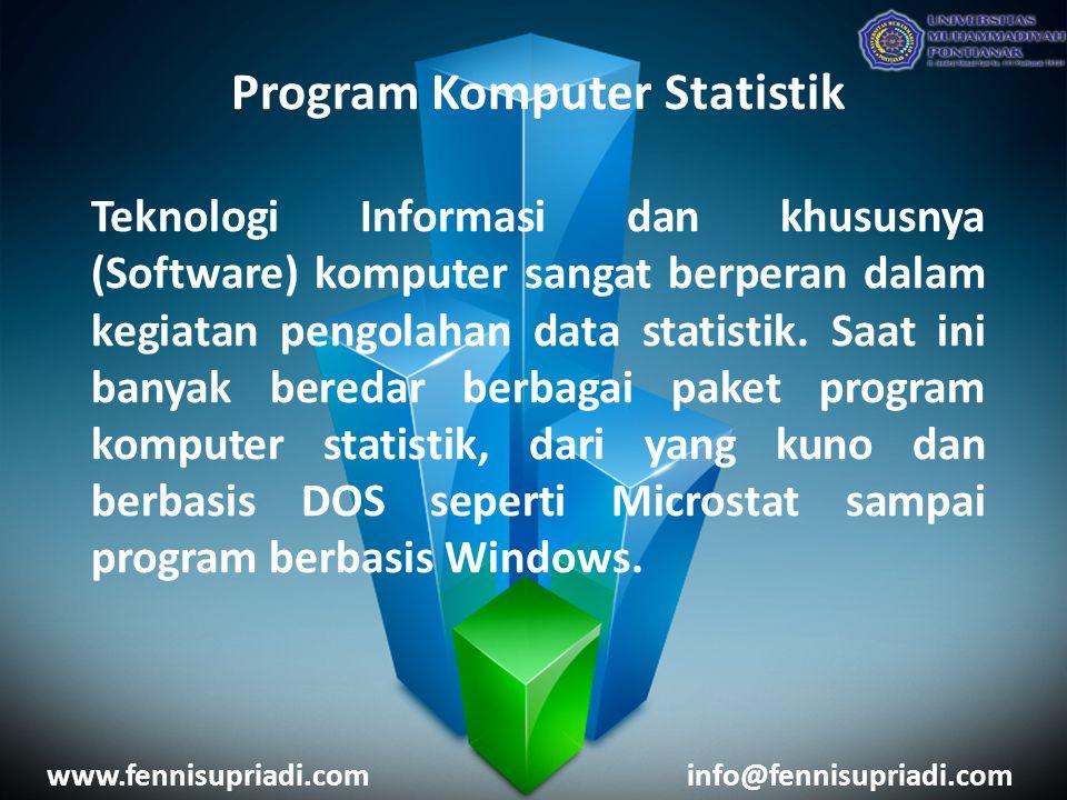 Program Komputer Statistik Teknologi Informasi dan khususnya (Software) komputer sangat berperan dalam kegiatan pengolahan data statistik. Saat ini ba