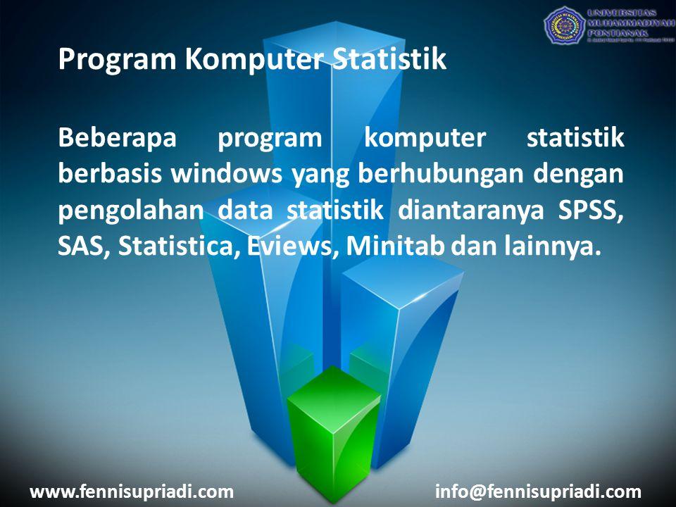 Program Komputer Statistik Beberapa program komputer statistik berbasis windows yang berhubungan dengan pengolahan data statistik diantaranya SPSS, SA