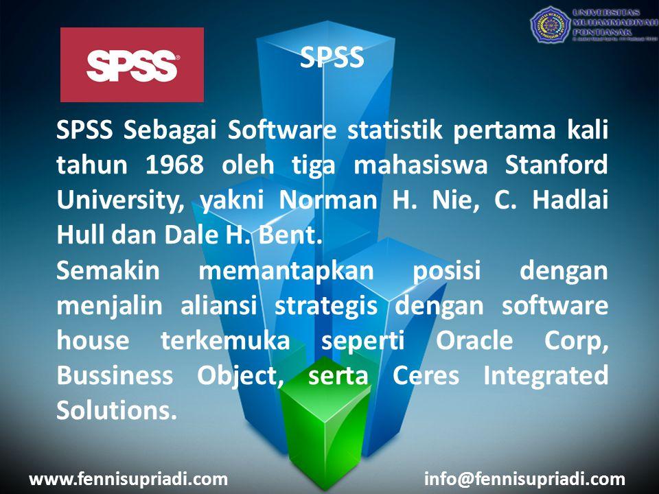 SPSS SPSS Sebagai Software statistik pertama kali tahun 1968 oleh tiga mahasiswa Stanford University, yakni Norman H. Nie, C. Hadlai Hull dan Dale H.