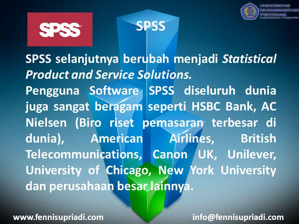 SPSS SPSS selanjutnya berubah menjadi Statistical Product and Service Solutions. Pengguna Software SPSS diseluruh dunia juga sangat beragam seperti HS