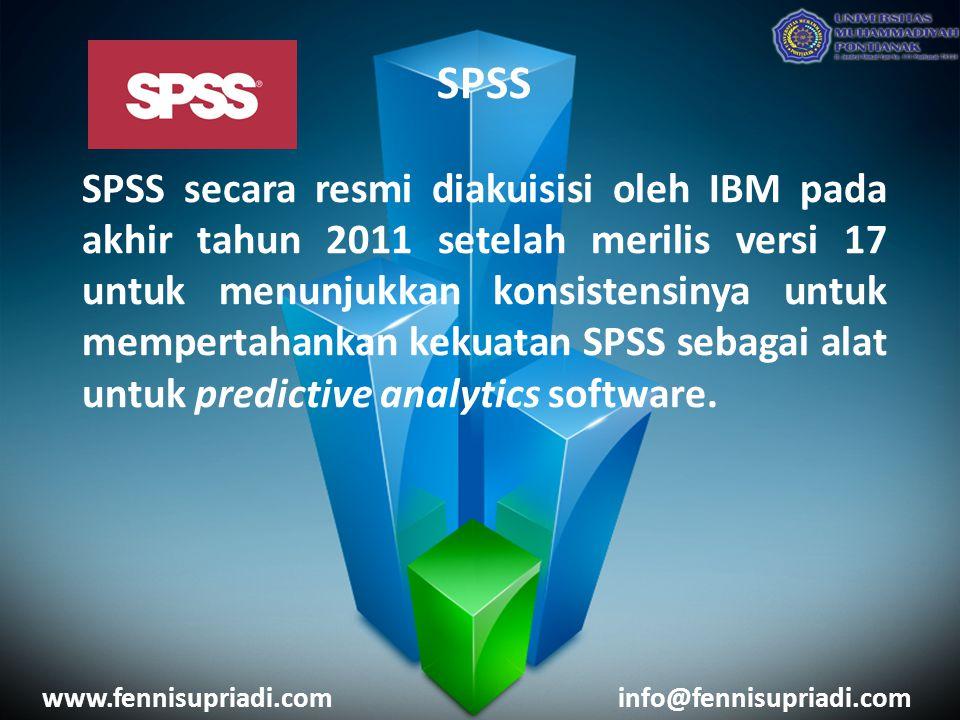 SPSS SPSS secara resmi diakuisisi oleh IBM pada akhir tahun 2011 setelah merilis versi 17 untuk menunjukkan konsistensinya untuk mempertahankan kekuat
