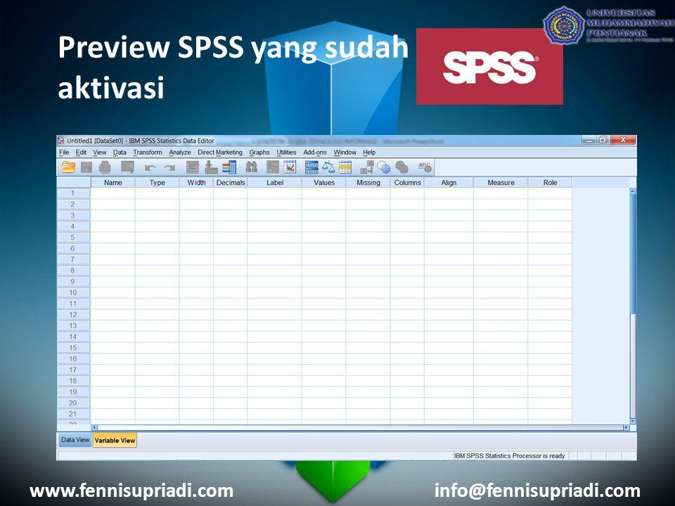 Preview SPSS yang sudah aktivasi www.fennisupriadi.cominfo@fennisupriadi.com