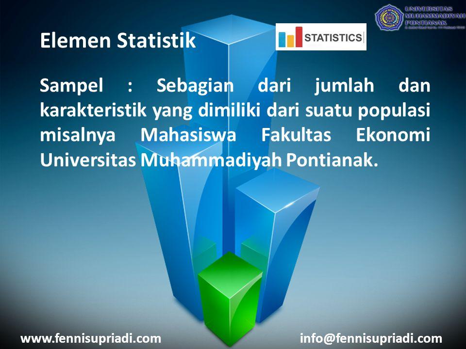 Elemen Statistik Sampel : Sebagian dari jumlah dan karakteristik yang dimiliki dari suatu populasi misalnya Mahasiswa Fakultas Ekonomi Universitas Muh