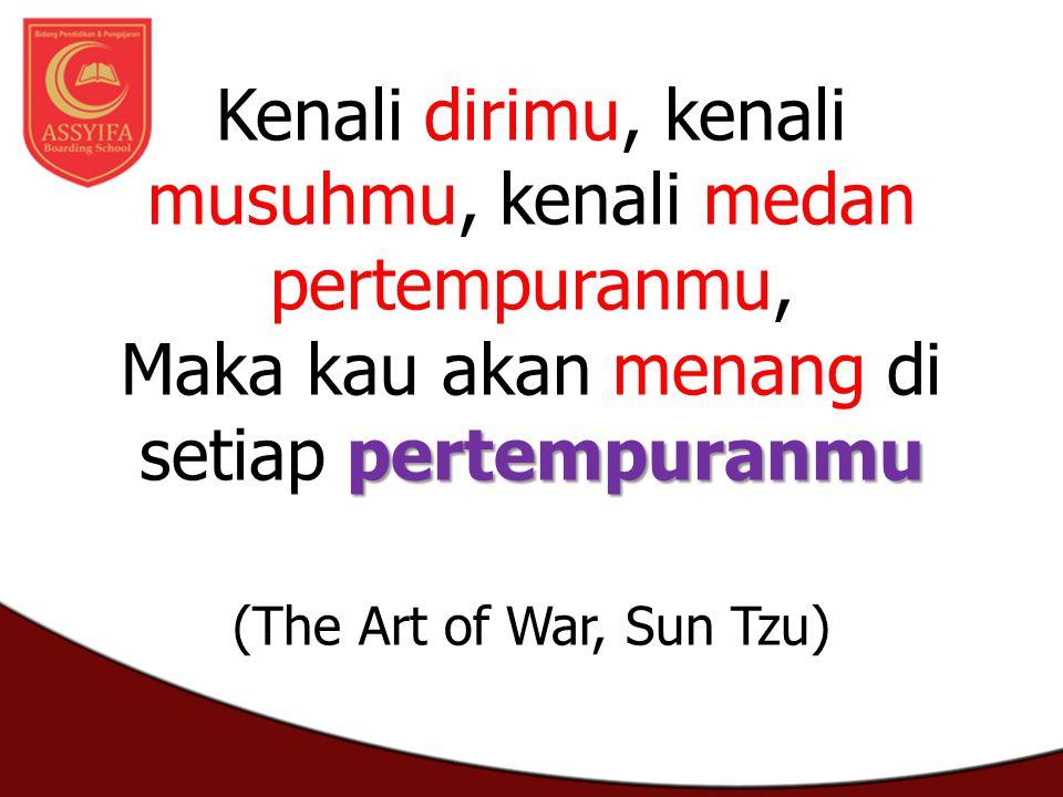 pertempuranmu Kenali dirimu, kenali musuhmu, kenali medan pertempuranmu, Maka kau akan menang di setiap pertempuranmu (The Art of War, Sun Tzu)