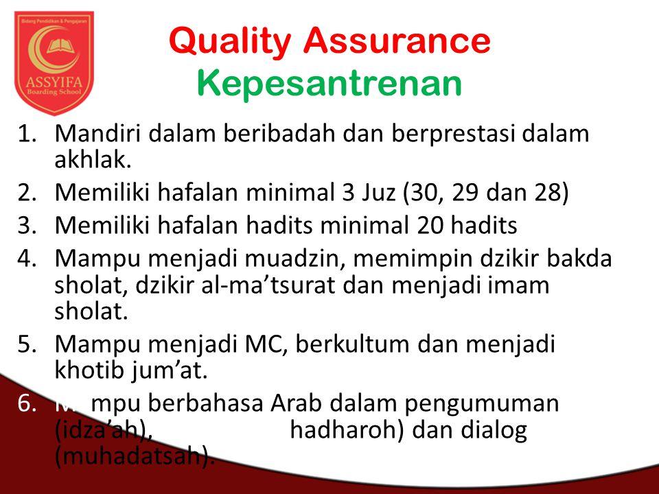 Quality Assurance Kepesantrenan 1.Mandiri dalam beribadah dan berprestasi dalam akhlak. 2.Memiliki hafalan minimal 3 Juz (30, 29 dan 28) 3.Memiliki ha