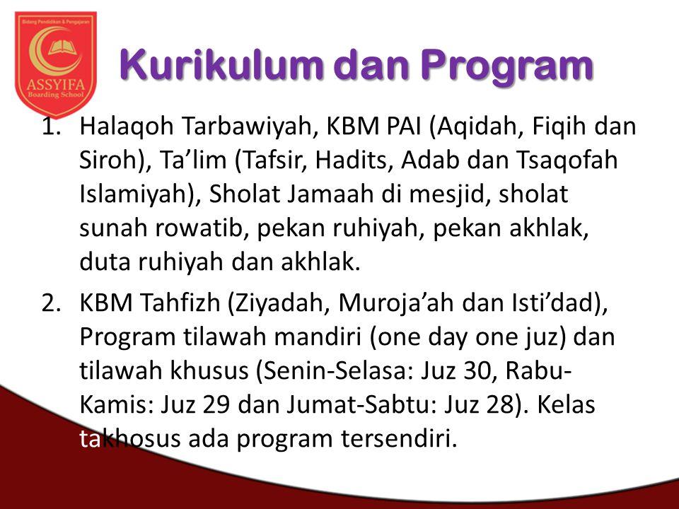 Kurikulum dan Program 1.Halaqoh Tarbawiyah, KBM PAI (Aqidah, Fiqih dan Siroh), Ta'lim (Tafsir, Hadits, Adab dan Tsaqofah Islamiyah), Sholat Jamaah di