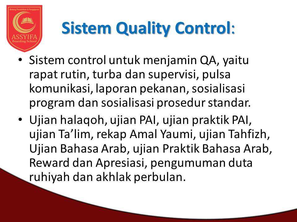 Sistem Quality Control: Sistem control untuk menjamin QA, yaitu rapat rutin, turba dan supervisi, pulsa komunikasi, laporan pekanan, sosialisasi progr
