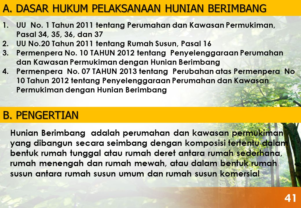1.UU No. 1 Tahun 2011 tentang Perumahan dan Kawasan Permukiman, Pasal 34, 35, 36, dan 37 2.UU No.20 Tahun 2011 tentang Rumah Susun, Pasal 16 3.Permenp