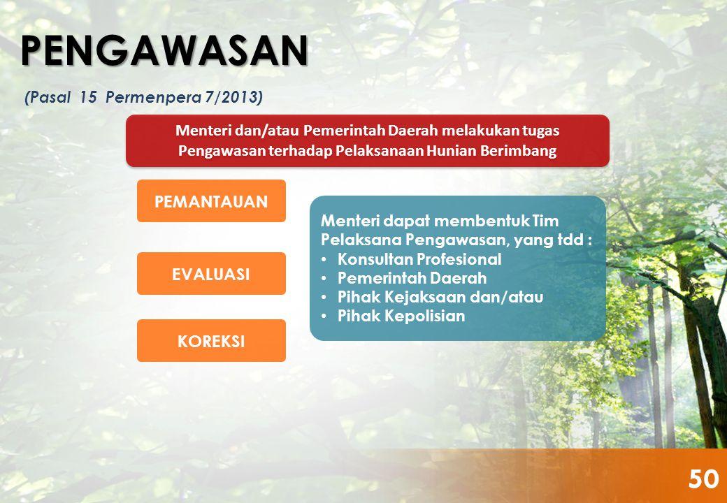 Menteri dan/atau Pemerintah Daerah melakukan tugas Pengawasan terhadap Pelaksanaan Hunian Berimbang PEMANTAUAN PENGAWASAN (Pasal 15 Permenpera 7/2013)