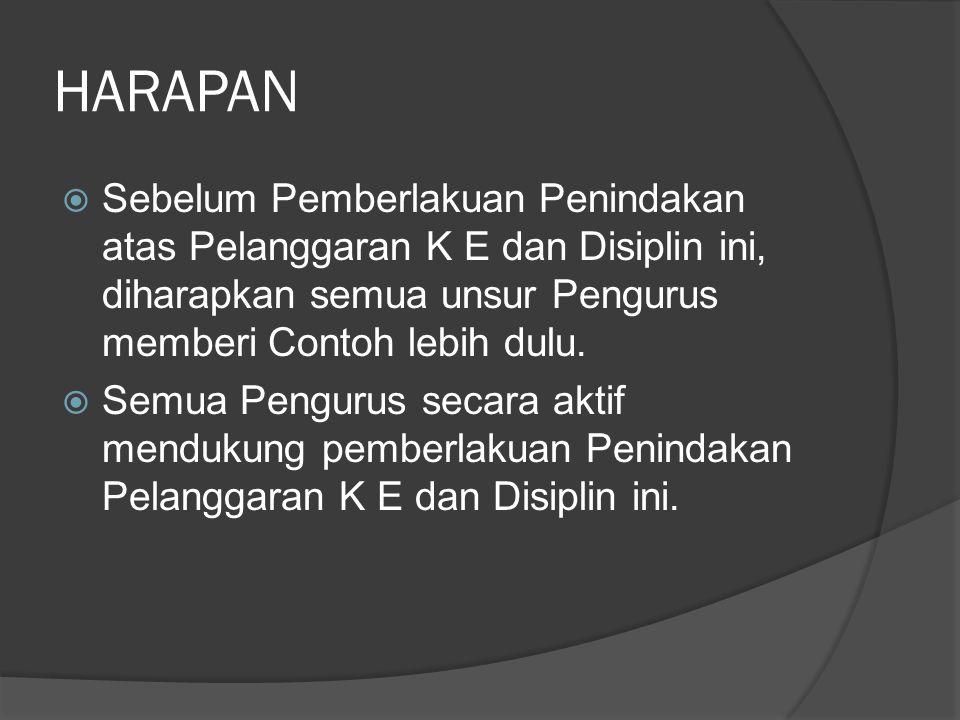 HARAPAN  Sebelum Pemberlakuan Penindakan atas Pelanggaran K E dan Disiplin ini, diharapkan semua unsur Pengurus memberi Contoh lebih dulu.  Semua Pe