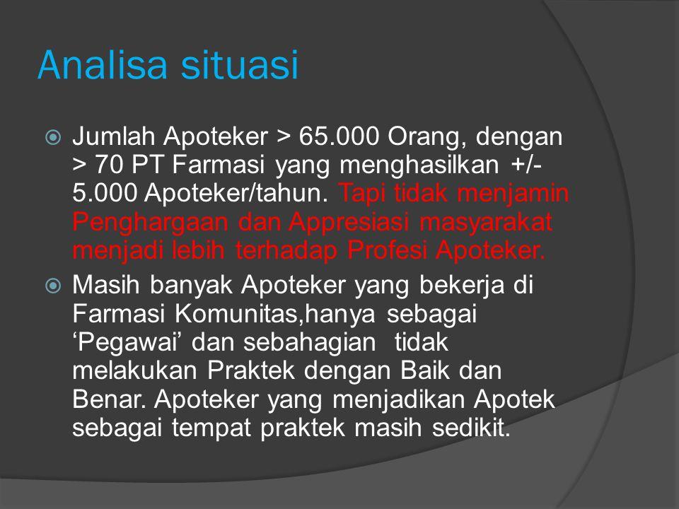 Analisa situasi  Jumlah Apoteker > 65.000 Orang, dengan > 70 PT Farmasi yang menghasilkan +/- 5.000 Apoteker/tahun. Tapi tidak menjamin Penghargaan d