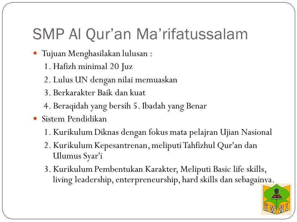 SMP Al Qur'an Ma'rifatussalam Tujuan Menghasilakan lulusan : 1. Hafizh minimal 20 Juz 2. Lulus UN dengan nilai memuaskan 3. Berkarakter Baik dan kuat