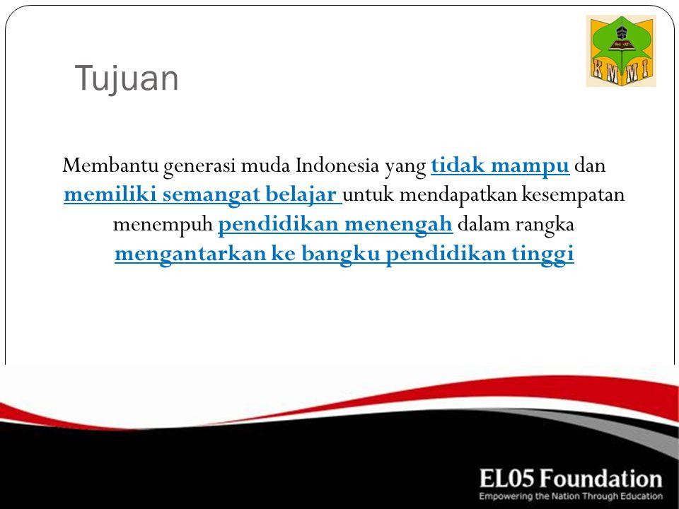 Tujuan Membantu generasi muda Indonesia yang tidak mampu dan memiliki semangat belajar untuk mendapatkan kesempatan menempuh pendidikan menengah dalam