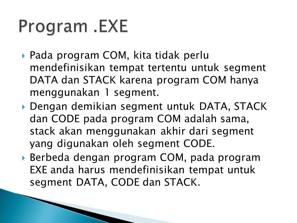 .MODEL SMALL .STACK 200h .DATA  +--------------+    Tempat      Data Program    +--------------+ .CODE  Label1:  MOV AX,@DATA  MOV DS,AX  +---------------+         Tempat      Program         +---------------+  MOV AX,4C00h  INT 21h  END Label1