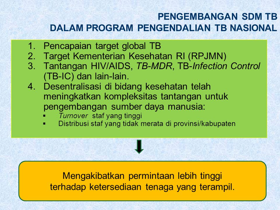 PENGEMBANGAN SDM TB DALAM PROGRAM PENGENDALIAN TB NASIONAL 1.Pencapaian target global TB 2.Target Kementerian Kesehatan RI (RPJMN) 3.Tantangan HIV/AIDS, TB-MDR, TB-Infection Control (TB-IC) dan lain-lain.