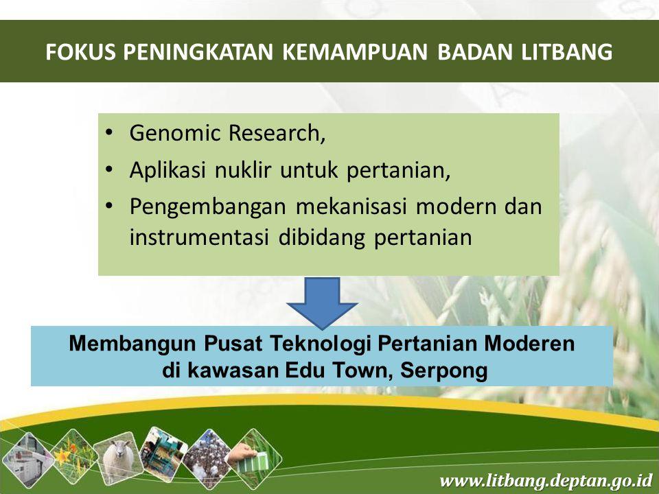 www.litbang.deptan.go.id FOKUS PENINGKATAN KEMAMPUAN BADAN LITBANG Genomic Research, Aplikasi nuklir untuk pertanian, Pengembangan mekanisasi modern d