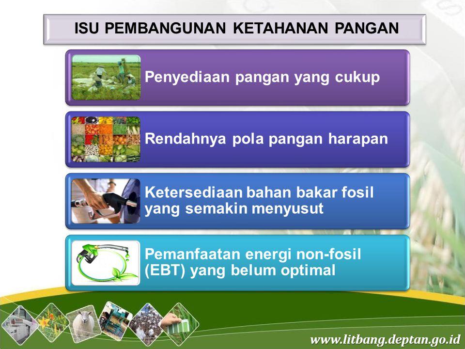 www.litbang.deptan.go.id Dampak perubahan iklim dan serangan organisme pengganggu tumbuhan (OPT) Rusaknya infrastruktur irigasi Konversi lahan sawah Keterbatasan akses petani terhadap pembiayaan Kompetisi antar komoditas Angka konsumsi beras per kapita per tahun rata-rata penduduk Indonesia yang digunakan pada perhitungan saat ini adalah 139,15 kg/kapita/tahun Dampak perubahan iklim dan serangan organisme pengganggu tumbuhan (OPT) Rusaknya infrastruktur irigasi Konversi lahan sawah Keterbatasan akses petani terhadap pembiayaan Kompetisi antar komoditas Angka konsumsi beras per kapita per tahun rata-rata penduduk Indonesia yang digunakan pada perhitungan saat ini adalah 139,15 kg/kapita/tahun Permasalahan dalam penyediaan pangan