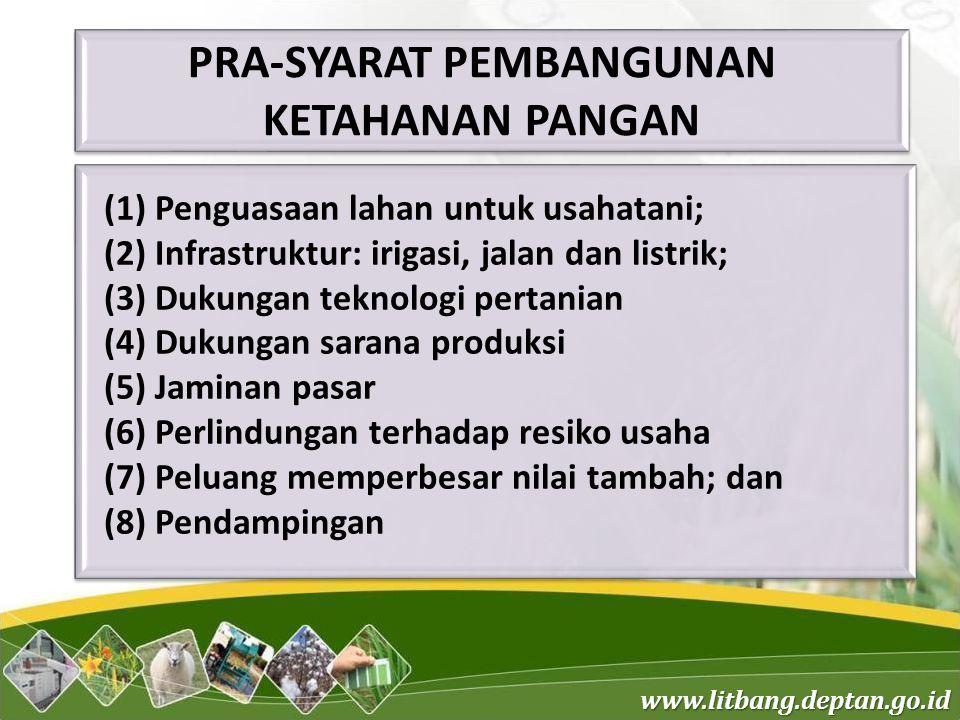www.litbang.deptan.go.id (1) Penguasaan lahan untuk usahatani; (2) Infrastruktur: irigasi, jalan dan listrik; (3) Dukungan teknologi pertanian (4) Duk