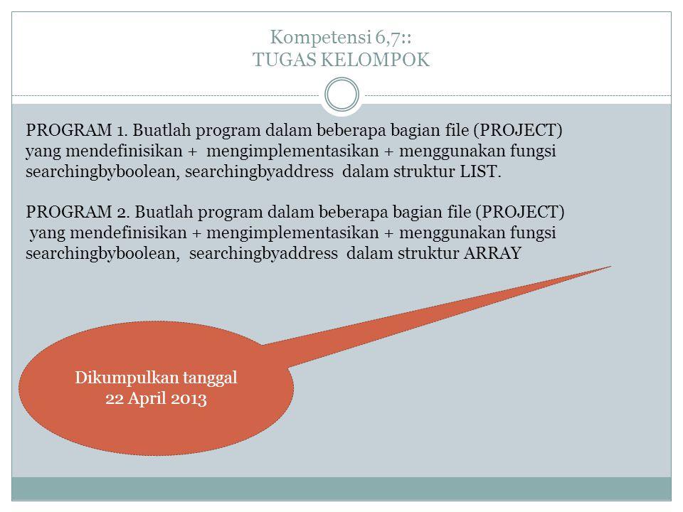 Kompetensi 6,7:: TUGAS KELOMPOK PROGRAM 1. Buatlah program dalam beberapa bagian file (PROJECT) yang mendefinisikan + mengimplementasikan + menggunaka