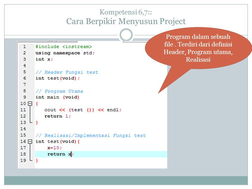 Kompetensi 6,7:: Cara Berpikir Menyusun Project Program dalam sebuah file.