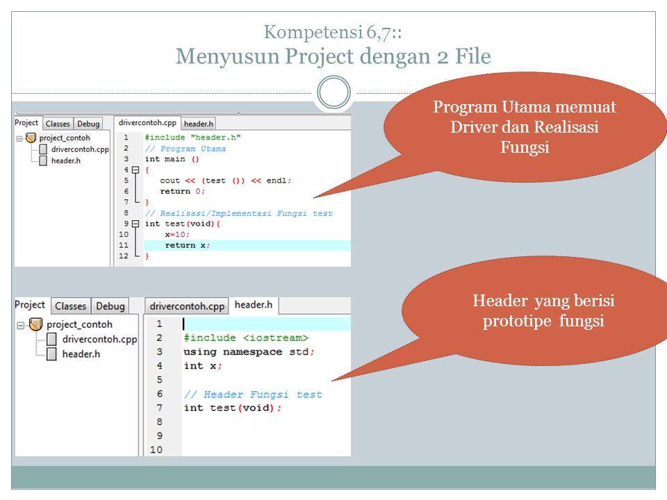 Kompetensi 6,7:: Menyusun Project dengan 2 File Program Utama memuat Driver dan Realisasi Fungsi Header yang berisi prototipe fungsi