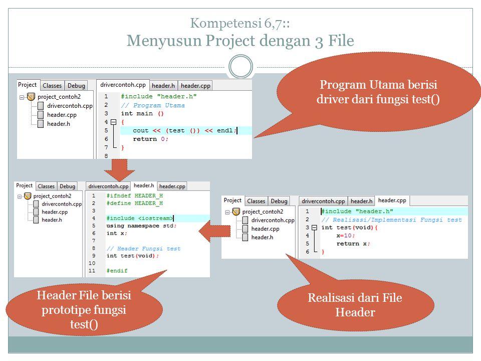 Kompetensi 6,7:: Menyusun Project dengan 3 File Program Utama berisi driver dari fungsi test() Realisasi dari File Header Header File berisi prototipe fungsi test()