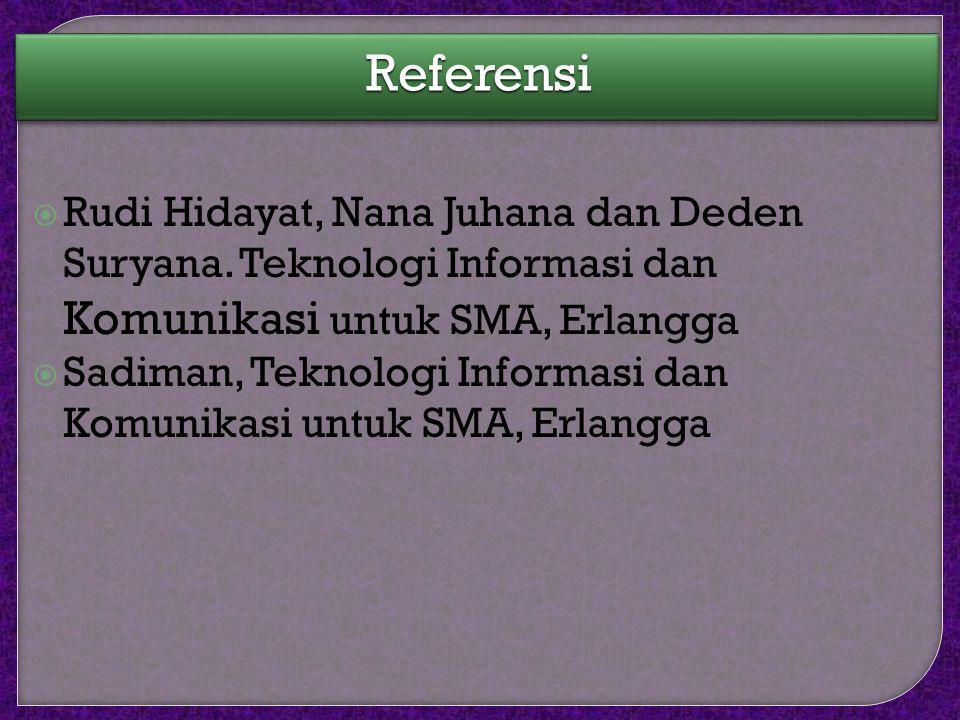 ReferensiReferensi  Rudi Hidayat, Nana Juhana dan Deden Suryana.