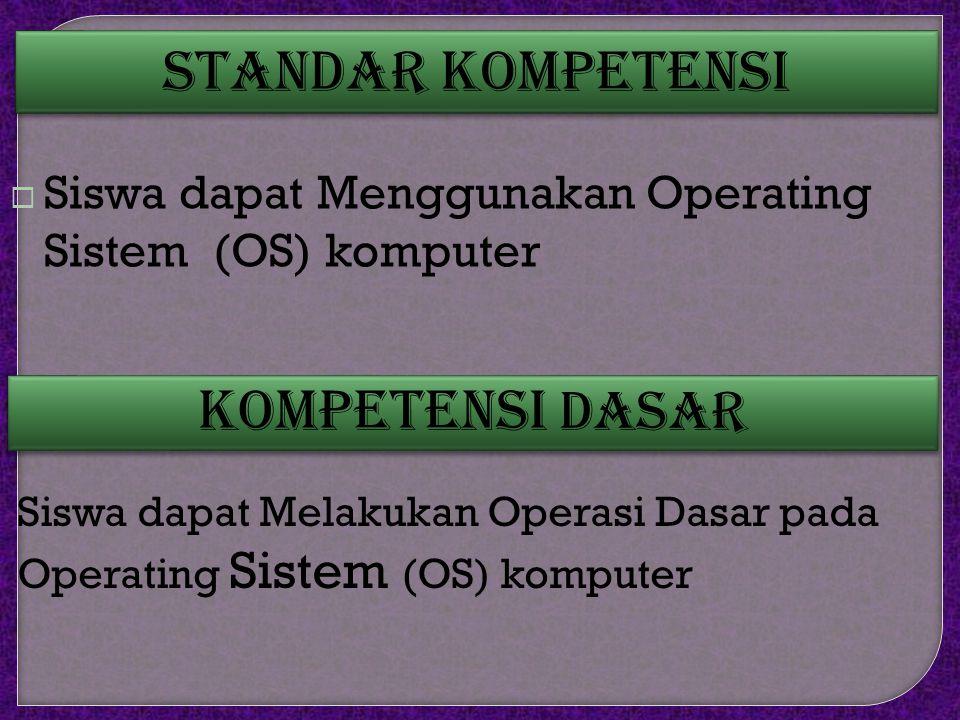 Standar Kompetensi  Siswa dapat Menggunakan Operating Sistem (OS) komputer Kompetensi Dasar Siswa dapat Melakukan Operasi Dasar pada Operating Sistem (OS) komputer