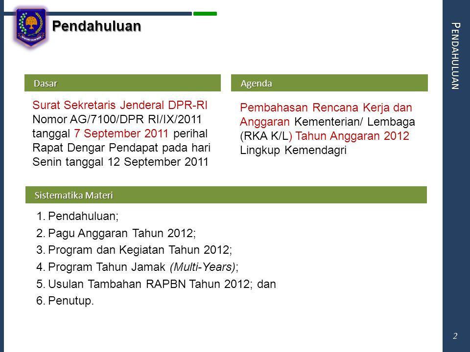 Pendahuluan P ENDAHULUAN Agenda Agenda Pembahasan Rencana Kerja dan Anggaran Kementerian/ Lembaga (RKA K/L) Tahun Anggaran 2012 Lingkup Kemendagri Das