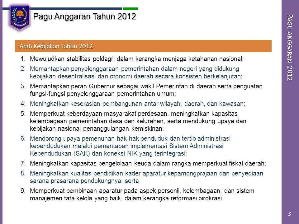P ENUTUP Terima Kasih Demikian beberapa hal yang dapat disampaikan sebagai bahan Pengantar dalam Rapat Dengar Pendapat hari ini berkenaan dengan pembahasan Rencana Kerja dan Anggaran Kemendagri Tahun 2012.