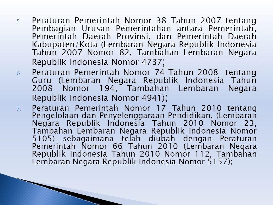 5. Peraturan Pemerintah Nomor 38 Tahun 2007 tentang Pembagian Urusan Pemerintahan antara Pemerintah, Pemerintah Daerah Provinsi, dan Pemerintah Daerah
