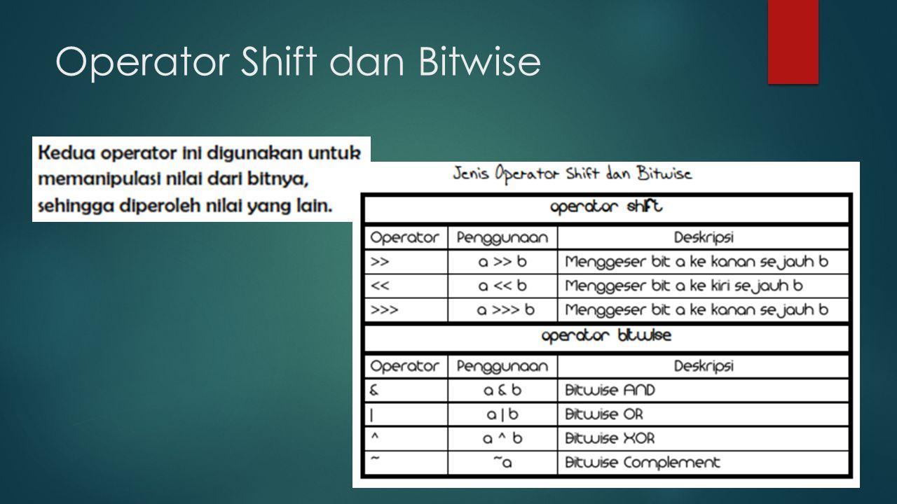 Operator Shift dan Bitwise