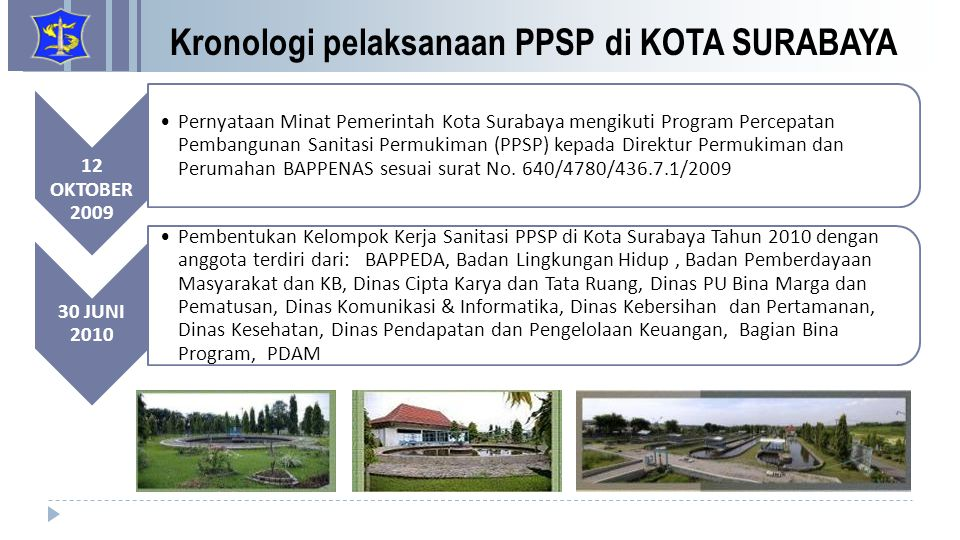 Kronologi pelaksanaan PPSP di KOTA SURABAYA 12 OKTOBER 2009 Pernyataan Minat Pemerintah Kota Surabaya mengikuti Program Percepatan Pembangunan Sanitas