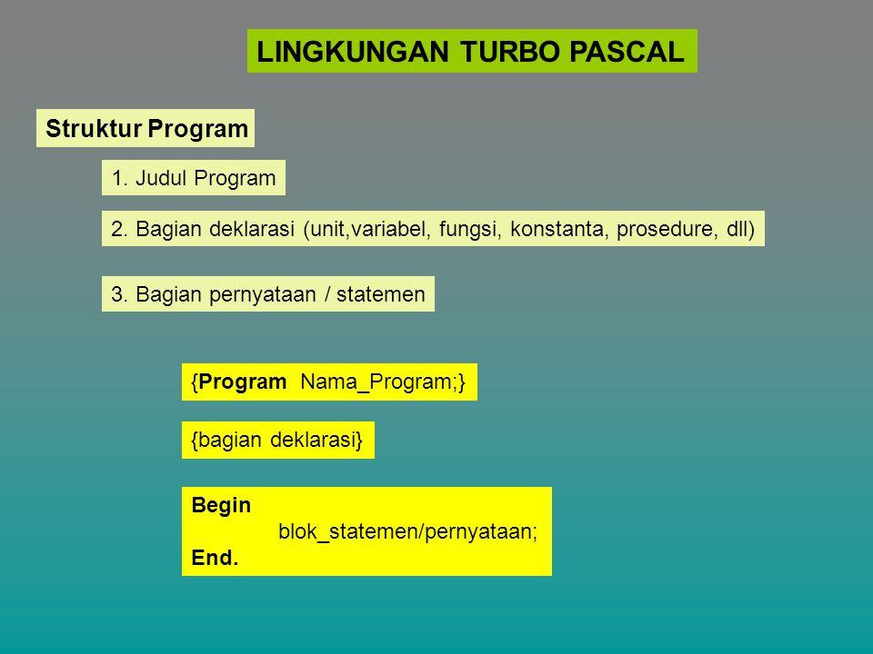 LINGKUNGAN TURBO PASCAL Struktur Program 1. Judul Program 2. Bagian deklarasi (unit,variabel, fungsi, konstanta, prosedure, dll) 3. Bagian pernyataan