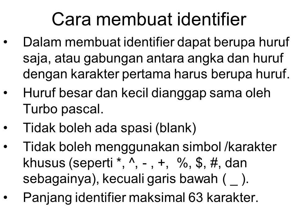 Cara membuat identifier Dalam membuat identifier dapat berupa huruf saja, atau gabungan antara angka dan huruf dengan karakter pertama harus berupa hu