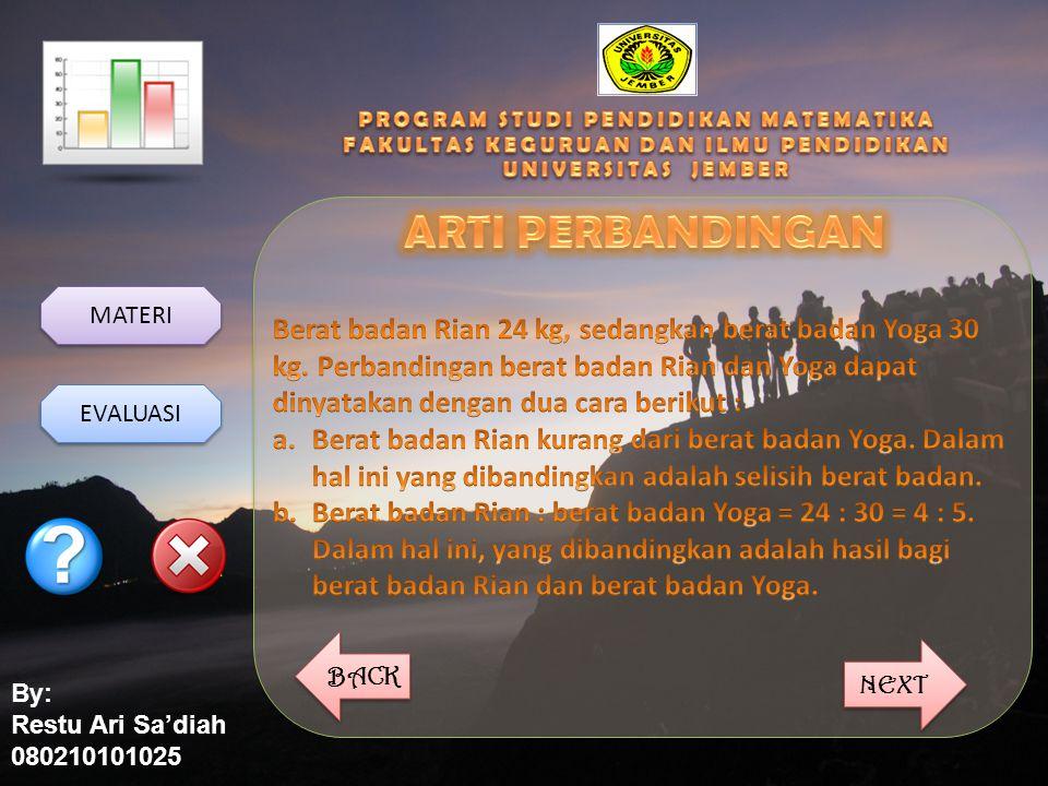 By: Restu Ari Sa'diah 080210101025 MATERI EVALUASI BACK NEXT