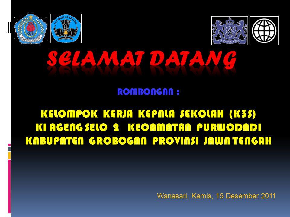 ROMBONGAN : KELOMPOK KERJA KEPALA SEKOLAH (K3S) KI AGENG SELO 2 KECAMATAN PURWODADI KABUPATEN GROBOGAN PROVINSI JAWA TENGAH Wanasari, Kamis, 15 Desember 2011