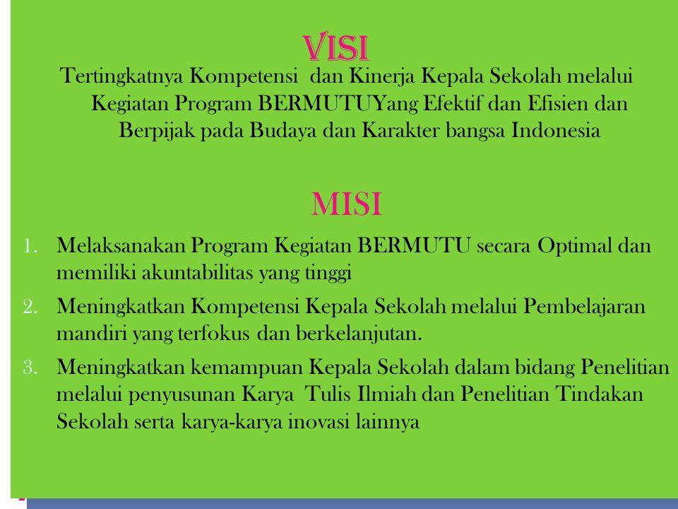 Tertingkatnya Kompetensi dan Kinerja Kepala Sekolah melalui Kegiatan Program BERMUTUYang Efektif dan Efisien dan Berpijak pada Budaya dan Karakter bangsa Indonesia MISI 1.