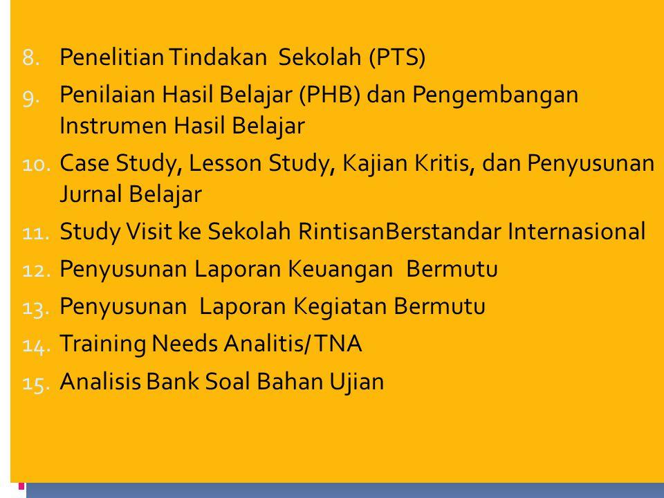 8.Penelitian Tindakan Sekolah (PTS) 9.