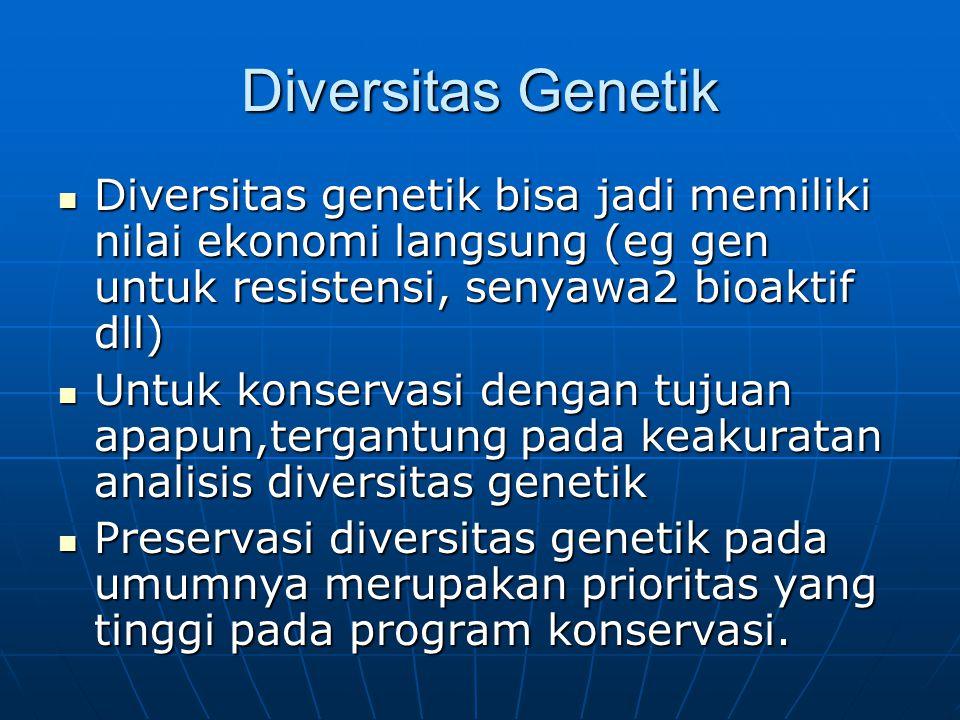 Diversitas Genetik Diversitas genetik bisa jadi memiliki nilai ekonomi langsung (eg gen untuk resistensi, senyawa2 bioaktif dll) Diversitas genetik bi