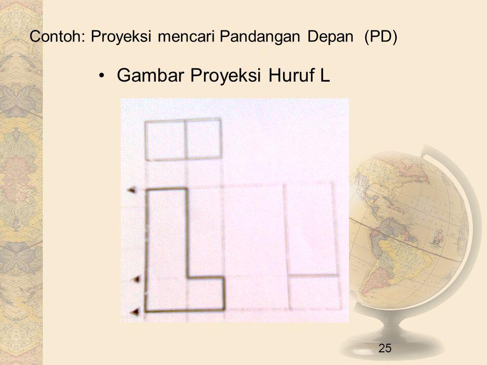 Contoh: Proyeksi mencari Pandangan Depan (PD) Gambar Proyeksi Huruf L 25