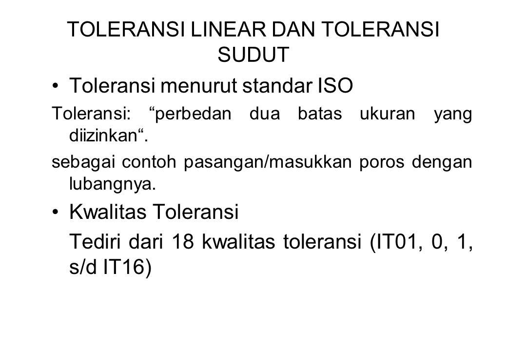 """TOLERANSI LINEAR DAN TOLERANSI SUDUT Toleransi menurut standar ISO Toleransi: """"perbedan dua batas ukuran yang diizinkan"""". sebagai contoh pasangan/masu"""